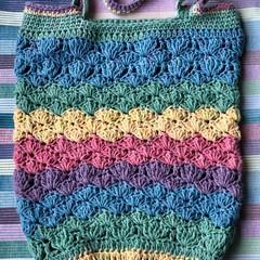 Rainbow Mermaid Style Shell Bag | Caron Cake Variegated | Cotton Yarn