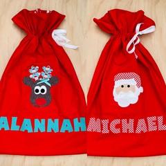 Personalised Santa Sacks - reindeer - Christmas - Santa
