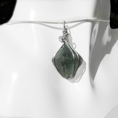 Fluorite octahedron pendant, raw crystal, sterling wire wrapped