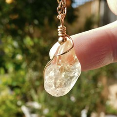 Raw Citrine 14k gold fill wire wrapped pendant