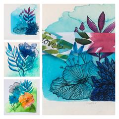 Blue delight - 3 minis for artlovers