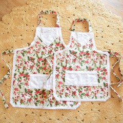 Mummy & Me Vintage Aprons - girls size - Christmas Holly