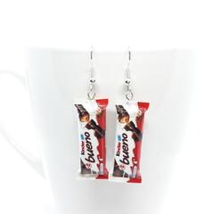 Kinder Bueno Chocolate Earrings, kinder dangle earrings