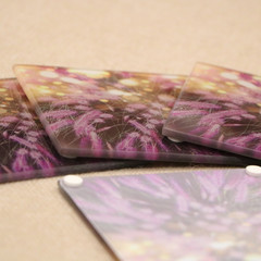 Coasters fireworks, set of four, glass coasters, 10cm x 10cm coasters, purple pi