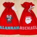 Personalised Santa Sacks - reindeer - Christmas