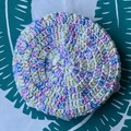Crochet Market Bag | White & Variegated Rainbow | Double thickness base
