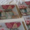 Coaster, Summer flowers coaster set of 4, square glass tile coaster set, 10cmx10