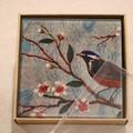 Coasters, Blue birds glass coasters, set of four, glass tile coasters, square co