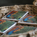 Coasters, Peacock coaster, square ceramic coaster set of four, 10.8cmx10.8cm coa