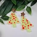Spotty Christmas Tree - Button - Glitter Stud Dangle earrings