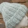 Mens or ladies grey mint beanie alpaca PomPom optional