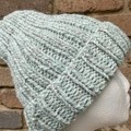 Mens or ladies grey mint beanie alpaca PomPom optional