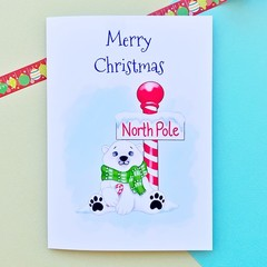 Christmas card polar bear, North Pole holiday card, seasonal card