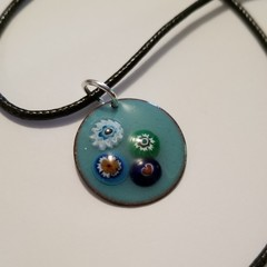 Hand crafted Mint and Millefiori Bead Pendant