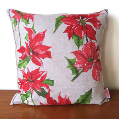 Vintage Australian Poinsettia Christmas Flowers Cushion