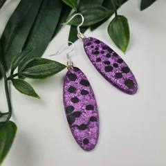 Spotty Dotty Purple Cheshire - Glittering - Drop Resin - Dangle earrings