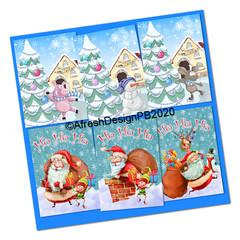 Christmas Animals and Santa Card Front Printables