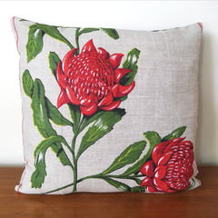 Vintage Australian WARATAH Wildflowers Cushion