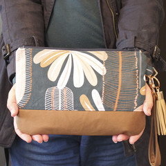 Blue wattle and brown women clutch bag
