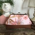 Small Kiss Lock Handbag - Pink Gum Blossom/Rust Base