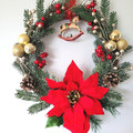 Red Poinsettia with Rocking Horse Christmas Wreath - Traditional Christmas Decor