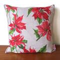Vintage Australian Poinsettia Christmas Flowers Cushion