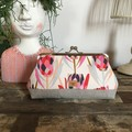 Large Kiss Lock Purse - Pink Proteas/Linen