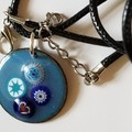 Aqua Enamel Pendant with Millefiori Beads