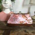 Large Kiss Lock Purse - Pink Gum Blossom/Rust Base
