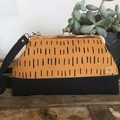 Small Kiss Lock Handbag - Mustard & Black Dash/Black Base