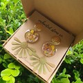 Gold Flower Resin Earrings