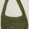 Green crocheted market bag