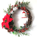 Red Poinsettia Traditional Christmas Wreath - Christmas Decor - Gift for Xmas