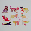 """""""Happy Cats"""" original hand painted acrylic silhouette artwork"""