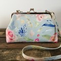 Small Kiss Lock Handbag - Roses on Blue