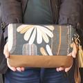 Blue wattle and brown women clutch bag
