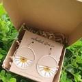 Gold Daisy Resin Earrings