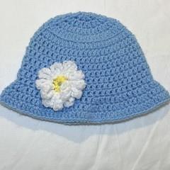 Blue daisy baby bucket hat