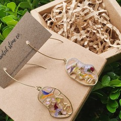 Gold Botanical Resin Earrings - Petal Head