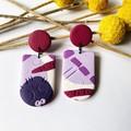 Purple Moon Arc dangle  earrings