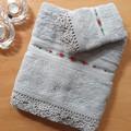 Hand Embroidered Bath Towel & Washer Set