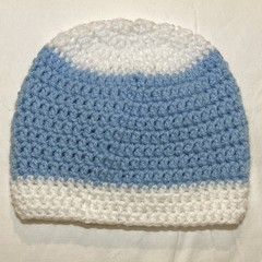 blue and white baby beanie