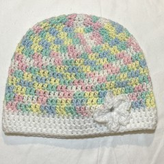 Pastel baby beanie with flower
