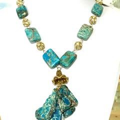 Genuine IMPERIAL JASPER Blue-Green Natural Gemstones Beaded Necklace.