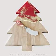 RESIN ART CHRISTMAS TREE SERVING BOARD WITH SPREADER