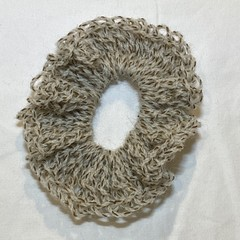 brown and white speckled scrunchie