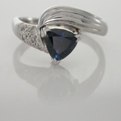 Solid 9ct White Gold Ring with Natural Blue Sapphire and Pave Set Diamonds