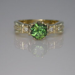 9ct Solid Gold Green Sapphire and Diamond Ring