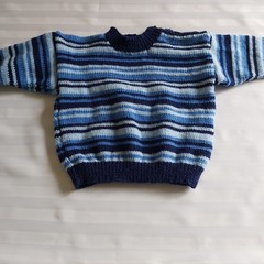 HAND KNIT BOYS STRIPED SWEATER SWEATER 2 YEARS