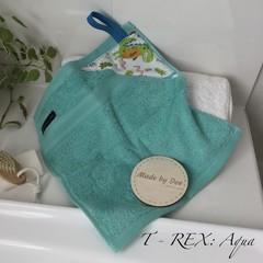 """DINOSAUR"" Aqua     BATH WASHERS // MINI HAND TOWEL"
